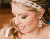 Bridal Headband, Weddings, headband, rhinestone headband, hair accessory, double two strand headband-Athena, Bridal Headband