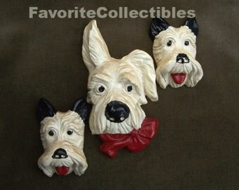 Chalkware Dogs 3 Doggie Pals OOAK Set 1930s Wall Plaques Scotty Terrier Yorkie Plaster from FavoriteCollectibles