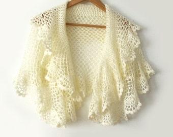 Bridal cape, Bridal shawl, Bridal stole, Bridesmaid shawl, Wedding cape, Crochet shawl, Crochet cape, Lace crochet stole, Ivory cape