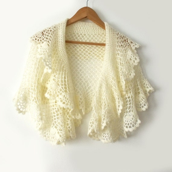 Crochet Lace Wedding Garter Pattern: Bridal Cape Bridal Shawl Bridal Stole Bridesmaid Shawl