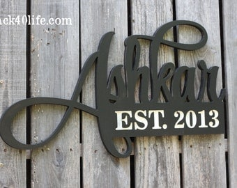 Family Name and Established Date Wood Cutout (S-025) - Monogram - Wedding Gift - Anniversary Gift