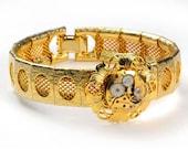 Steampunk  Vintage Gold Watch Movement n Gold Mesh Bracelet