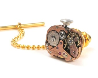 Steampunk Vintage Rose Gold Watch  Tie Tack Pin Chain Clip