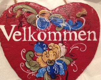 Norwegian Rosemaled heart name slate