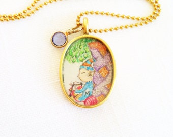 Knitting Elf hand painted watercolor illustration necklace pendant