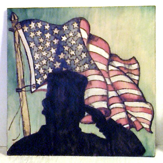 American Soldier Silhouette American Flag Wood Burned