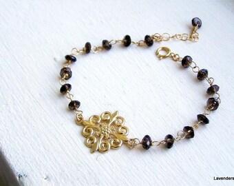 Smoky Topaz Bracelet , Gold  Charm Bracelet , Gold bracelet , Wire wrapped Gemstone Bracelet ,  December Birthstone