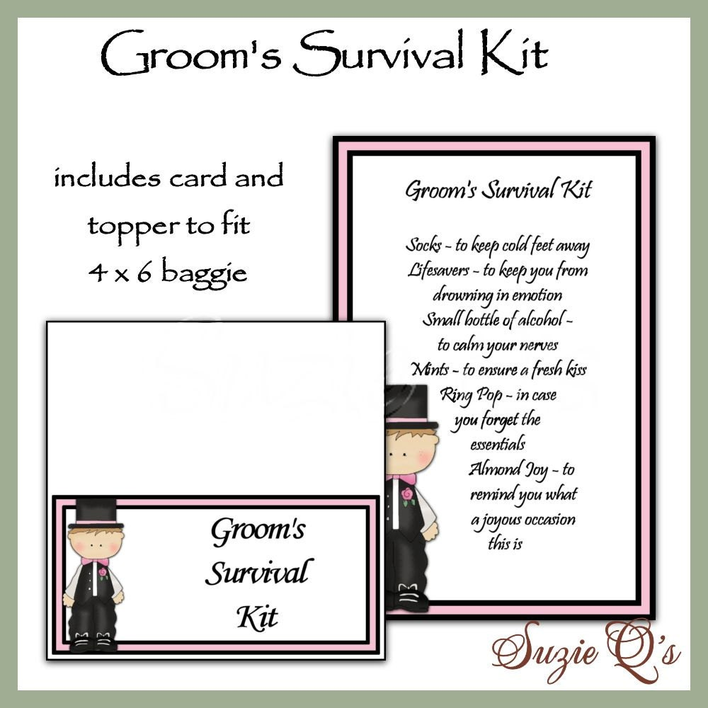 Groom S Survival Kit Includes Topper And Card Digital
