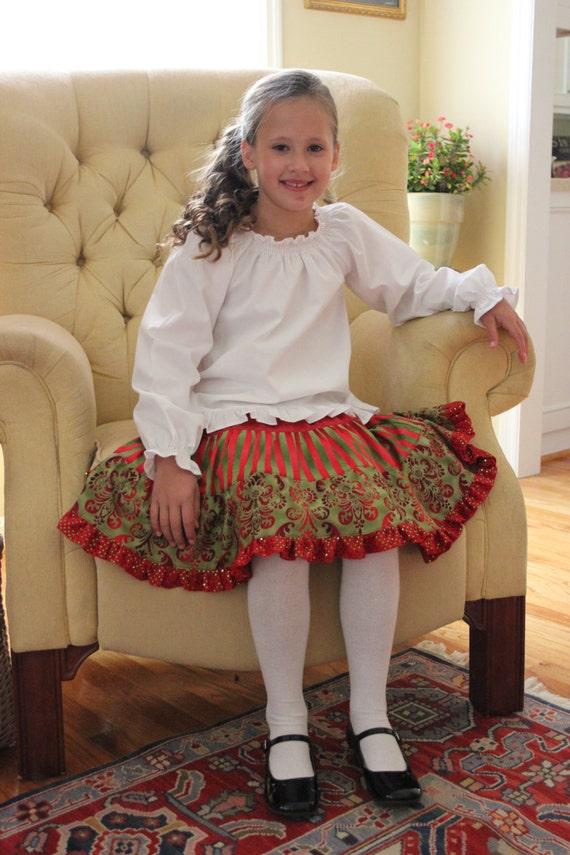 Christmas Skirt Pattern - SEW FESTIVE  Tiered Skirt PDF Pattern - Size 2t-14 Child - Easy Sewing Pattern Clothing Skirt