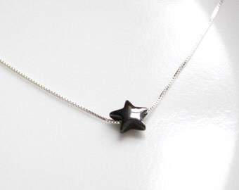 Star Necklace, Hematite Star Necklace, Black Heart Necklace, Casual Necklace, Layering Necklace, Everyday Necklace, Gift for Her