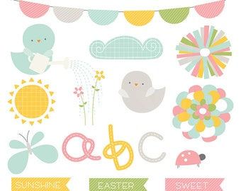 Hello Spring Digital Clipart Clip Art Illustrations - instant download - limited commercial use ok