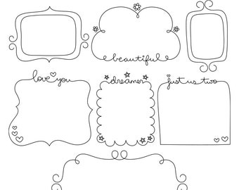 Whimsy Doodles Frames No2 Digital Stamps Clipart Clip Art Illustrations - instant download - limited commercial use ok