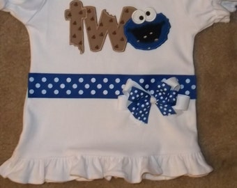 Girls Blue Monster with Cookie Ribbon Shirt