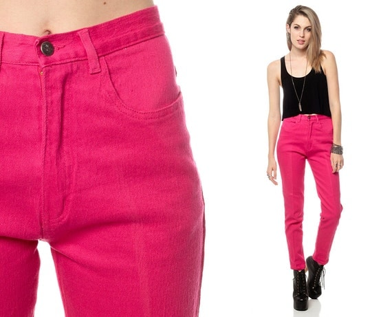 High Waist Skinny Jeans HOT PINK Pants 80s High Waisted Denim