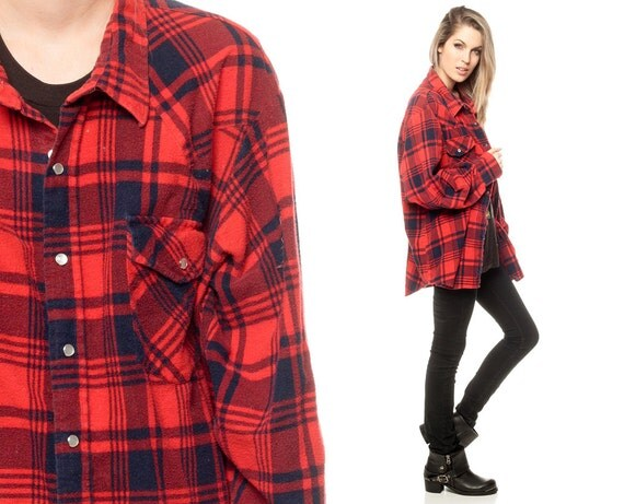 Red flannel shirt 90s pearl snap navy blue plaid lumberjack for Navy blue and red flannel shirt