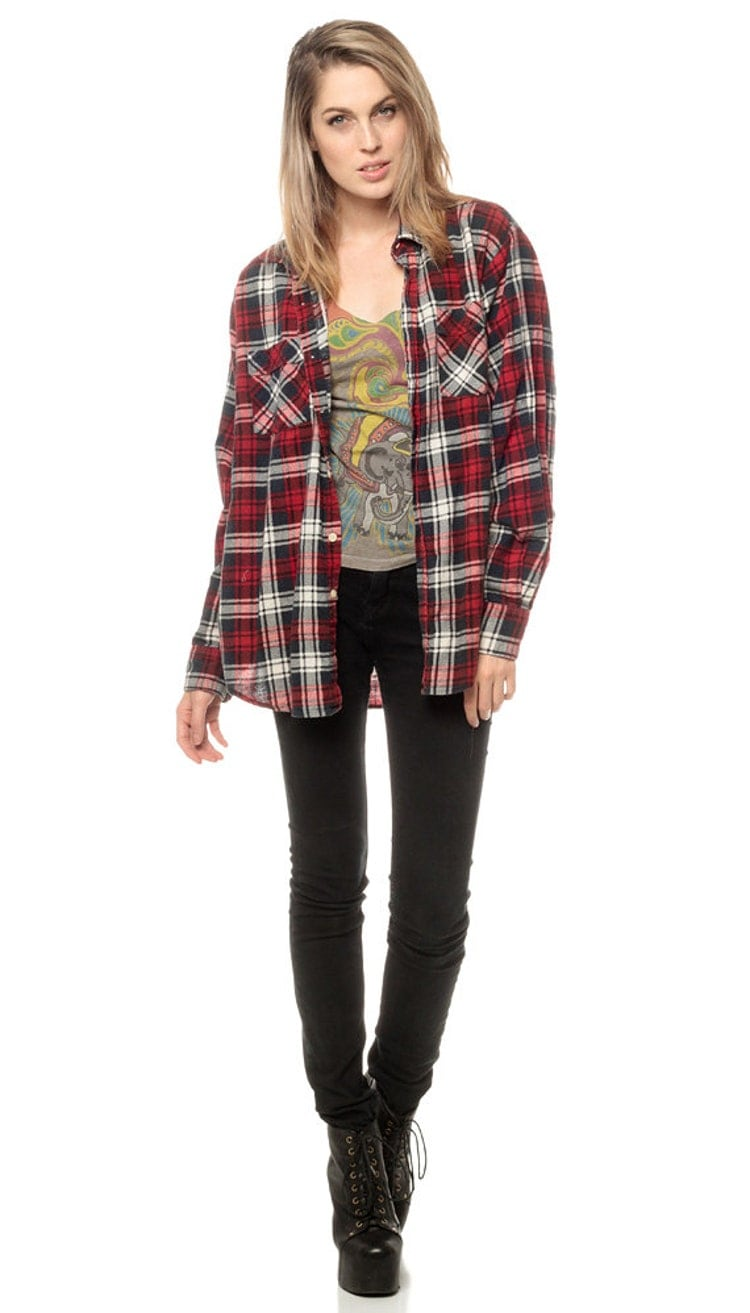 Oversized plaid shirt 90s flannel red black white by shopexile for Oversized red plaid shirt