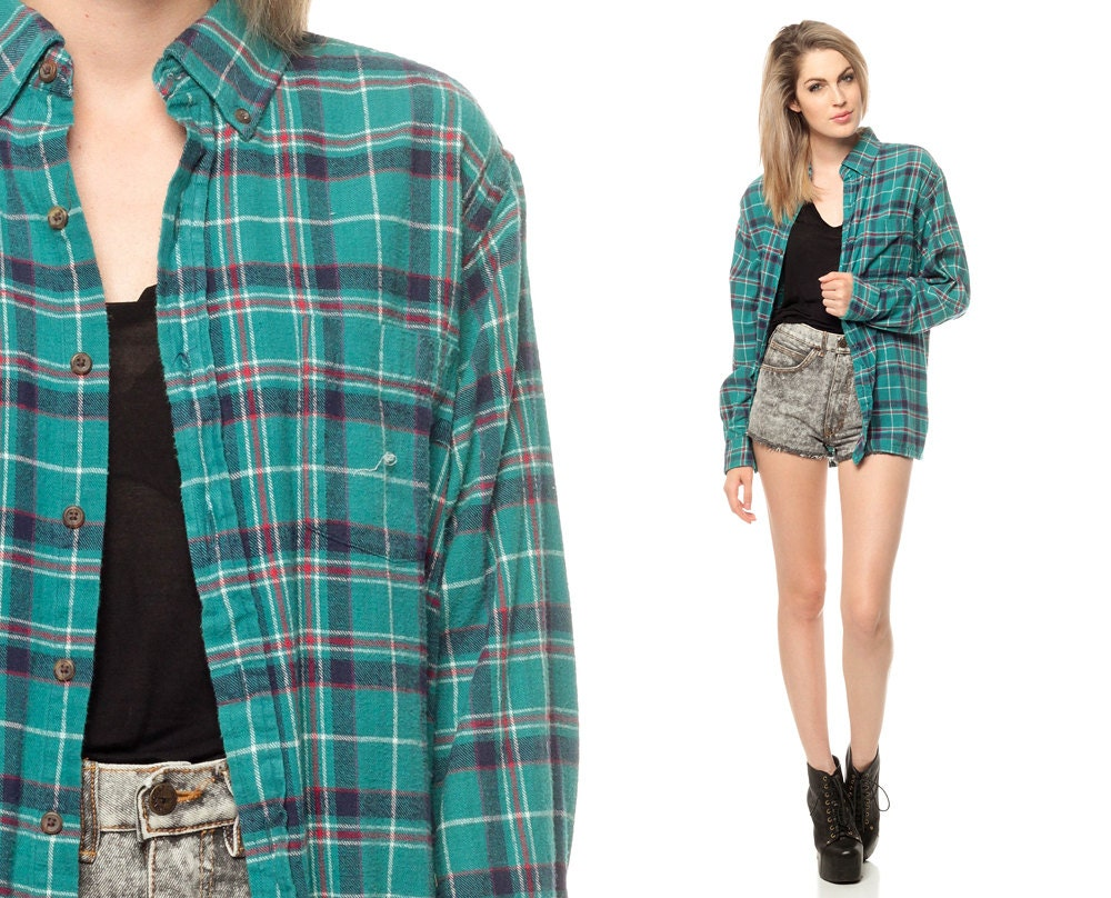 Oversized Flannel Shirt 90s Teal Green Plaid Grunge By