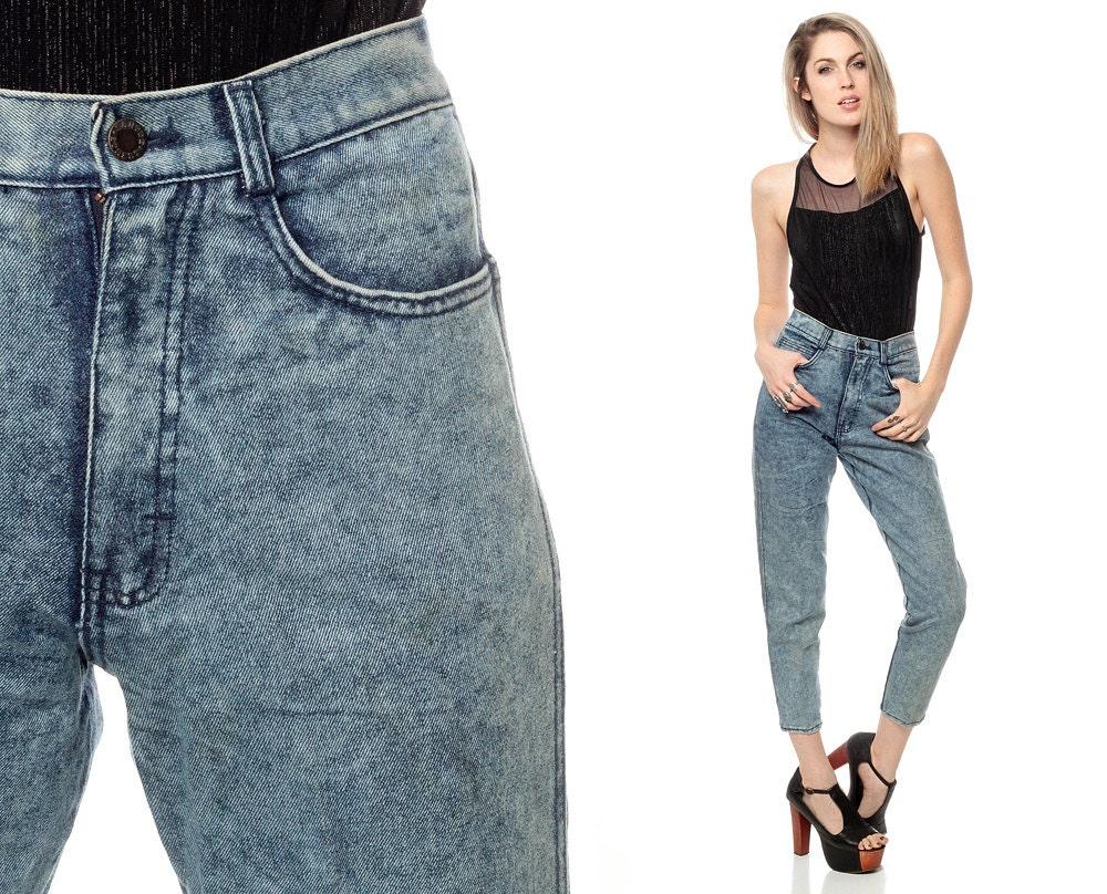 80er jahre high waist jeans zigarette acid wash hose zipper. Black Bedroom Furniture Sets. Home Design Ideas