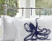 2 Two Navy Blue Octopus Ocean Beach Nautical Pillowcases pillow covers