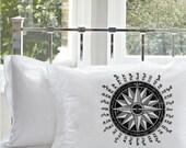 One (1) Black Nautical Ship Compass Standard White Pillowcase pillow cover bedding