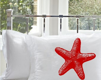 One (1) Red Starfish Star Fish Pillowcase nautical decor home east west coast beach house ocean bedroom cabin lake pillow case covers UNIQUE