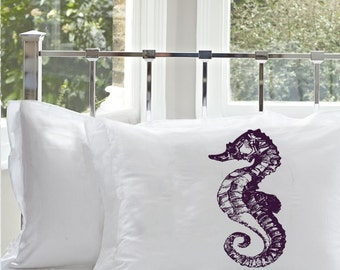 One (1) Purple Sea Horse White Nautical Pillowcase cover pillow case
