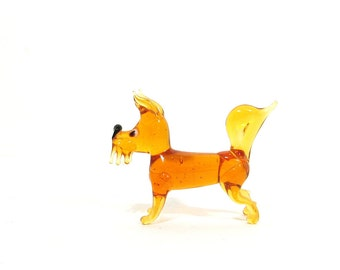 Scottish Terrier Dog Vintage Glass Animal Figurine Mid Century