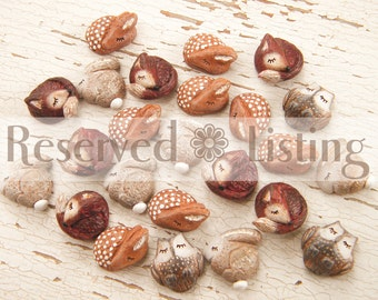 RESERVED Listing for morvicvalium - sleepy critter beads - 2 red foxes, 2 brown owls (made to order)