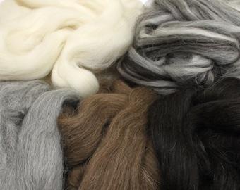 Icelandic Wool Sampler - Undyed Wool Roving for Spinning or Felting (10oz)