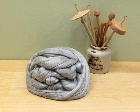 Silver Alpaca/ Tussah Silk Roving - Undyed Fiber for Spinning (8 oz)