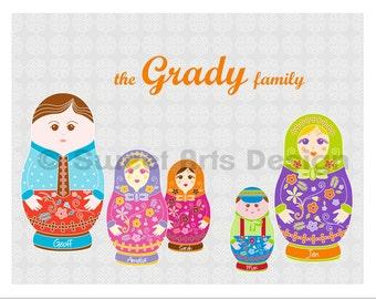Matryoshka Family  -  Wall Print  (or)  Greeting Cards