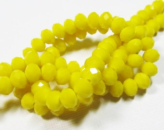 LOOSE Glass Beads - Glass Crystal Beads - 4x6mm Faceted Rondelle - Opaque Yellow (10 beads) - gla556