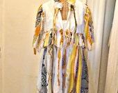 Sunflower Festival Coat Duster Jacket Medium Large Coachella Gypsy Boho Tribal Print Hippie Wearable Art Womens Gold Yellow Black Ruffled
