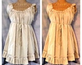 Cowgirl Ruffle Dress Custom Ivory or Tan Tea Dyed Farmhouse Tattered Womens Square Dance