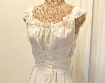 Ivory Gretel Tunic Top Medieval Corset Lace Up Renaissance Ribbon Tie Belt Tattered Teens, Womens