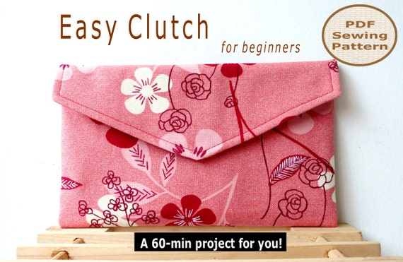 Easy Beginner Clutch INSTANT DOWNLOAD A 60-min PDF Bag Sewing Pattern And Tutorial