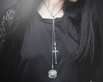 Medieval Inspired Lionheart Lariat Necklace - Antiqued Sterling Silver Plated Sword and Medallion - by Ghostlove