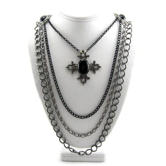 SALE 50% OFF Gothic Mourning Necklace - Bella Noir - with Multi-Layered Jet Black Glass Cabochons and Filigree Maltese Cross Accent