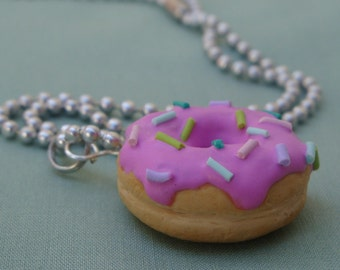 Pink Donut Necklace