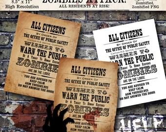 Zombie Warning Halloween Vintage Digital Download Printable Sign Poster Clip Art Scrapbook Collage Sheet