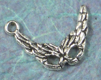 20 Feather Mask Charms Mardi Gras Party Antiqued Silver NOLA (P234)