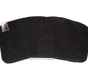 Vintage Jet Black Corded Fabric XL Clutch Black Clutch Bag Oversized Black Clutch Bag Corde Purse Black Clutch Evening Bag Corde Handbags