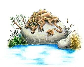 "Sad Little Rock Dragon 8x10"" Fantasy Fine Art Print"