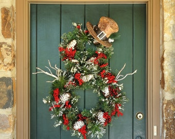 All is Bright! - Whimsical Snowman Wreath, Christmas Wreath, Winter Wreath, Snowman, Christmas, Holiday Decor