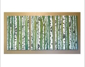 Birch Trees on Emerald Triptych Commission by Kristen Dougherty