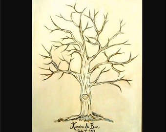 Custom Wedding Tree Guest Book Painting - Any Colors You Want by Kristen dougherty