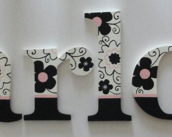 Gorgeous Pink, Black and White Floral Wall letters