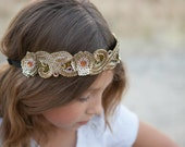Aphrodite - Gold and Amber Beaded Adjustable Headband