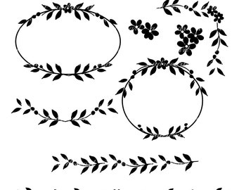 Vintage Flower Borders Black And White