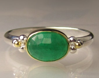 Emerald Ring, Rose Cut Emerald Ring, Sterling Silver and 18k Yellow Gold, Made to Order